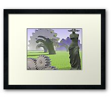 Aphrodite in field of gears Framed Print