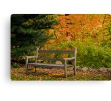 Garden Bench in Autumn Canvas Print
