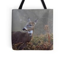 Buck in fog eyes doe -White-tailed Deer Tote Bag