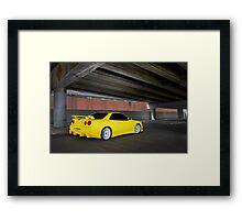 Yellow Nissan Skyline R34 Framed Print