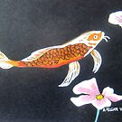 Koi with Two Pink Waterlilies by Alexandra Felgate