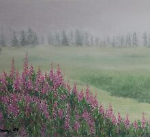 Fireweeds Still In The Mist by Constance Widen