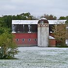 County Road 17 Barn First Snow Fall by kodakcameragirl