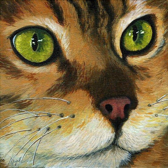 Butterscotch - Cat Portrait by LindaAppleArt