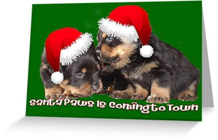 Santa Paws Is Coming To Town Christmas Greeting by taiche