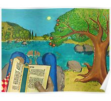 a picture of a man reading Psalm 1 in Hebrew Bible Poster