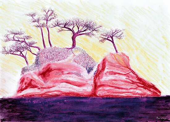 Drawing Day Purple Bonsai Island by Mui-Ling Teh