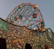 Coney Island Wonder Wheel and Haunted House by SylviaS