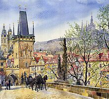 Prague Charles Bridge Spring by Yuriy Shevchuk