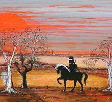 """""""Ned Kelly & the Scary Emu"""" Original Painting Won the Peoples Choice award in Fremantle Exhibition. Original Sold by EJCairns"""