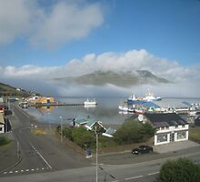 Fog across Runavík's harbour by Mark Prior