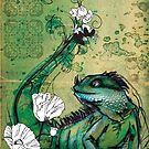 Green Iguana- Mixed Media by Narelle Craven