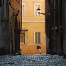 Orange Wall in a Roman Streetscape by Alessandro Pinto
