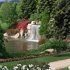 Hunter Valley Gardens Waterfall by Fred  Smith