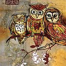 Patchwork Owls- Mixed Media by Narelle Craven