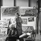 Artist Selby Warren &amp; Wife in his gallery, Abercrombie Caves, NSW.  by C J Lewis