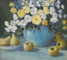 Still Life With Yellow Apples And Flowers by Doris Currier