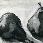 Two Pears, charcoal and pencil still life by Emma Brooks-Mitrou