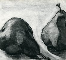 Two Pears, charcoal and pencil still life by Emma Brooks