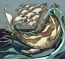 Leviathan Strikes - Whale, Sea and Sailing Ship by Matt Brown