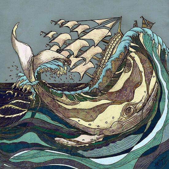 Leviathan Strikes - Whale, Sea and Sailing Ship by Matt Brown