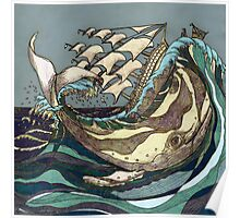 Leviathan Strikes - Whale, Sea and Sailing Ship Poster