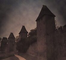 old walls in dark clouded by light by Norwen
