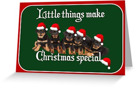 Little Things Make Christmas Special Rottweiler Greetings by taiche