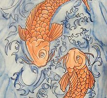 Two Large Koi by Alexandra Felgate