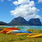 Kayaks and Mountains - Lord Howe Island by Imagik