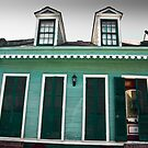 Green Shotgun House in French Quarter, New Orleans USA by GJKImages