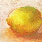 Study of a lemon, pastels on paper by Sandrine Pelissier