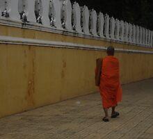 Walk of a Lone Monk - Royal Palace Phnom Penh by BRIGHTEY84