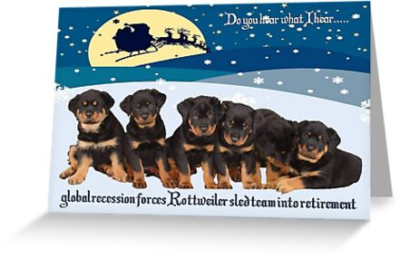 Rottweiler Christmas Sleigh Team by taiche