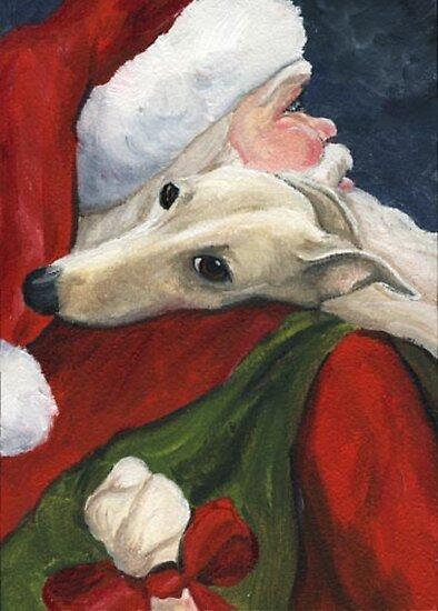 Greyhound and Santa  by Charlotte Yealey