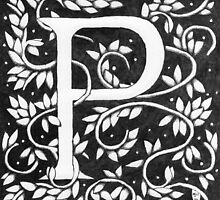 "Art Nouveau ""P"" (William Morris Inspired) by Donna Huntriss"