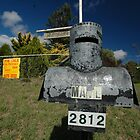 Letterbox (Ned Kelly helmet-shaped), Lue, NSW, Australia by muz2142