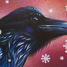 Raven and snowflakes by Elena Kolotusha