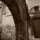 Stairs through the Arch in Sepia by Alessandro Pinto