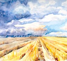 The Gathering Storm - A Stormy Afternoon Over the Field by Elisabeta Hermann