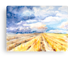 The Gathering Storm - A Stormy Afternoon Over the Field Canvas Print