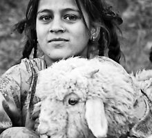 Rural Girl with Sheep - Himilayan Faces by Chinua Ford