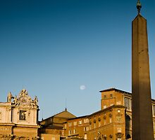 Vatican City Obelisk & Moon, Rome Italy by GJKImages