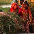 Three ladys in the boat on the Ganges - Patna India by Miriam  Wallace