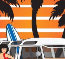 VW Split Window Bus Teal w Girl & Palmes Sticker