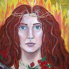 Brigid -Goddess of Fire- acrylic mixed media on canvas   by margotmythmaker