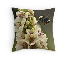 Bee and Verbascum Throw Pillow