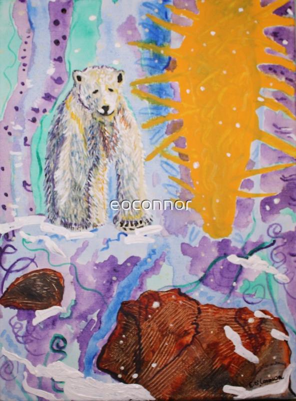 POLAR BEAR 'Will I survive'Acrylic on canvas 8x10 by eoconnor