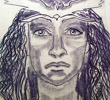Woman Warrior -Touch Drawing on paper by margotmythmaker