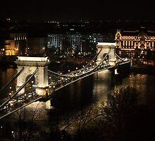Chain bridge of Budapest at night by sanyi